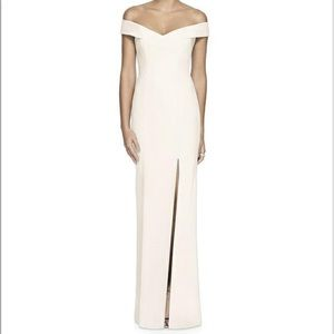 Dessy Collection ivory bridesmaid dress